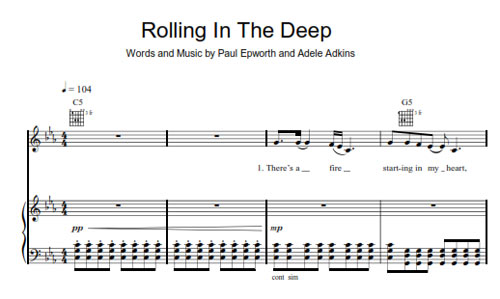 Guitar chords for rolling in the deep
