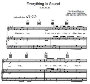 Everything Is Sound (La La La) - Jason Mraz - ноты к песне - Purple Market Area
