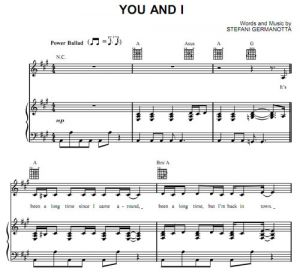 You And I - Lady Gaga - partitura - Purple Market Area